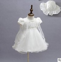 Wholesale Girl Vest Lace Dress Winter - Girls princess dress sets Toddlers lace up bows tulle TUTU dress+gauze cardigan vest+hat 3pcs sets kids Birthday party dress outfits G0742