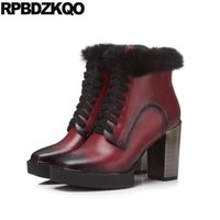 2017 Bottes courtes Lace Up Fetish Wine Red High Heel Chaussures d'hiver Ankle Real Fur Chunky Chaussures femme de qualité Pointed Toe Genuine