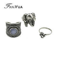 Wholesale Ethnic Silver Rings - FANHUA 3pcs set New Ethnic Bohemian Style Antique Silver Color Geometric Elephant Finger Punk Midi Rings Set Accessories