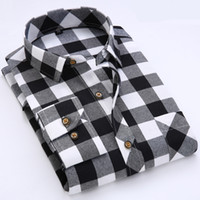 Wholesale Shirt Flannel - Wholesale- NCLAGEN Men Spring Autumn Striped Luxury Fashion Flannel Dress Shirts Long Sleeve Casual Design Camisa Social Masculina S-4XL