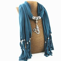 Wholesale Wholesale Scarf Necklace 12 - Tassel scarf polyester mermaid pendant jewelry scarf alloy necklace scarves for women 12 colors