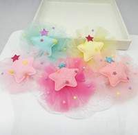 Wholesale Lace Hairclip - Wholesale 20pcs lot 5C Fashion Cute Glitter Star Girls Hairpin Solid Gauze Star BB Girls Hairclip Baby Gilrs Hair Accessories