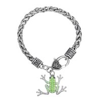 Wholesale Cheap Cute Gift Sets - Fashion Cheap Cute Sparkling Green Crystal Frog Charm Pendant Wheat Chain Stainless Steel Charm Bracelet Best Gift
