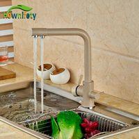 Wholesale Taps Kitchen Double Handle - Wholesale- Euro Style Kitchen Sink Faucet Khika Color Double Handles Mixer Tap Swivel Spout Deck Mounted