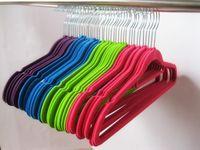 Wholesale Bar Towels - Clothes Hangers Two Position Flocking Racks With Horizontal Bar Antiskid Seamless Clothing Rack Suit Shirt Pants Hanger Multi Color 1hc D R