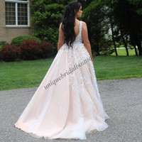 Wholesale Crystal Ring Pictures - Deep V Neck Plus Size Prom Dresses 2017 Lace Appliques Ball Gown Quinceanera Dress South Africa Long Ring Dance Dress Open Back