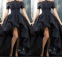 Wholesale Low Back Blue Dress - 2017 Black Lace Off-Shoulder High Low Prom Dresses Sexy Vestido De Festa Arabic Design Ruched Formal Evening Gown Short Front Long Back