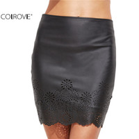 Wholesale Tight Short Skirt Sexy Women - COLROVE Sexy Clubwear Women Mini Skirt Tight Short Skirts Work Wear Black Faux Leather Laser Cutout Bodycon Skirt 17309