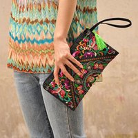 Vente en gros- Portefeuille New Wallet Embroider Purse Embrayage Mobile Phone Bag Coin Bag-butterfly flower