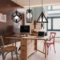 Wholesale triangle pendant lighting - Indoor pendant lighting iron square SA and PE triangle circle pendant lamps iron chandelier vintage light pendant lamp E27 free shipping