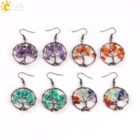 Gotas De Perlas Al Por Mayor Baratos-CSJA Wholesale Vintage Color cuelga los pendientes para mujeres Round Tree of Life Ear Drop Natural Health Rainbow Gemstone Bead Joyería clásica E529