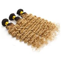 медовый каштановый переплетение волос оптовых-1B 27 Honey Blonde Темный корень Человеческий рост волос 8A Глубокая волна Бразильская Ombre Браун Блондинка для волос 3pcs / lot