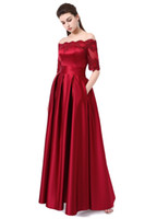 Wholesale Half Sleeved Long Prom Dress - 2017 Wine Red Lace Embroidery Luxury Satin Half Sleeved Long Evening Dress Elegant Banquet Prom Dress Robe de Soiree 497