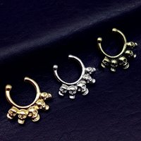 Nose Rings & Studs black hanger clips - 2017 New No Piercing Fake Nose Stud Five Skull Septum Hanger Clip On Fake Nose Ring Fashion Fake Septum Piercing Body Jewelry