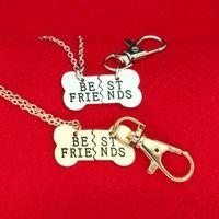 pendentifs pour bateaux amis achat en gros de-Or Argent MEILLEURS AMIS Pendentif Collier chien os os bijoux BFF Collier 2 partie os de chien collier et porte-clés Drop Ship 161852