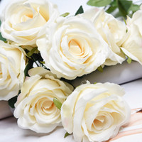 Wholesale Flowers White Background - Silk flower Head Rose Wedding Celebration venue Colorful Rose flowers Heads Artifical Satin rose for DIY Wedding background Wall