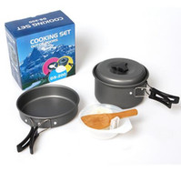 Wholesale wholesale aluminum bowl - 8pcs Set Outdoor Camping Cookware Backpacking Cooking Picnic Bowl Pot Pan Cookware Sets DS-200 for 1-2 Person CCA6561 30set