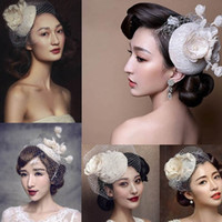 Wholesale Ladies Hats Vintage Feathers - 2017 New White Wedding Bridal Hat Vintage Handmade Gauze Feather with Crystal Hat Lady Elegant Party Headdress Hair Accessories