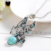 Wholesale Sweater Necklace Hollow Butterfly - Wholesale- Bohemian National Customs Hollow Butterfly Long Necklace Sweater Chain Women Silver Plated Chain Necklace