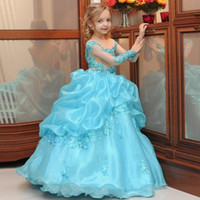 Wholesale Turquoise Ball Gowns Sleeves - 2017 Vintage Turquoise Ball Gowns Girl Pageant Dresses Ruffles Organza Floor Length Beaded Appliques Sheer Long Sleeves Flower Girl Dress