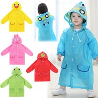 Wholesale Kids Rain Coat Yellow - Multicolor Kids Rain Coat Animal Style Children Waterproof Raincoat Rainwear unisex cartoon Kids Raincoats 5 colors YYA370