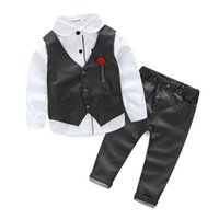 Wholesale baby boys long sleeve vest - Fashion 2017 new The boy gentleman 3pcs set baby boy clothes long sleeve t-shirt +Vest+pants kids party suit high quality