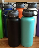 Wholesale Drinking Bottles Straw - 2017 New 18 32oz Flask Double Wall Vacuum Insulated Water Bottle Wide Mouth Straw Lid with Logo