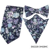 Wholesale crossover ties - 3 PCS   Set Men Cotton Necktie Jacquard Floral Fashion Skinny Tie Crossover Ties Pocket Square Wedding Party Print Handkerchief Bowties Tie