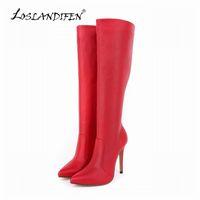 Wholesale White High Heels Size 11 - Wholesale- LOSLANDIFEN Womens Platform Matte High Heels Leather Knee Wide Leg Stretch Boots Winter Autumn Shoes US Size 4-11 769-3MA