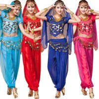 Tops + Vestito + Cintura + Veil India Costumi Belly Dance Bellydance Costumi Costumi Bollywood Abito Bellydance Abito da ballo Dancing Belly Dancing Outfits