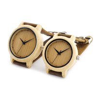 Wholesale Unique Watches For Ladies - Ladies Casual Quartz Watches Natural Bamboo Watch Top Brand Unique Watches For Couple in Gift Box Drop Shipping