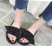 Wholesale Latex Hot Girls - 2017 Hot Leadcat Fenty Rihanna Shoes Women Bowtie Slippers Indoor Sandals Girls Fashion Scuffs White Grey Pink Black Slide