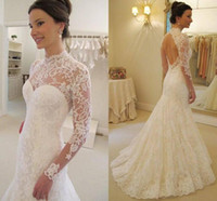 Wholesale Lace Mermaid Keyhole Wedding Dress - Chic Full Lace Summer Wedding Dresses Sexy Keyhole Backless Illusion Long Sleeves High Neck Mermaid Bridal Gowns Robe de marriage