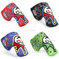 Wholesale new headcover golf online - Hot New Golf Head Cover High Quality PU Golf Putter protecter with Embroider Red Green Blue Black color