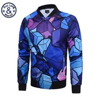 Wholesale Brand Men Hoodies Jackets - Wholesale- New Men Brand Clothing Mens Jackets and Coats 3D Print Box Cube Baseball Jacket Thin Sweatshirt Hoodie Zipper Veste Homme M-3XL