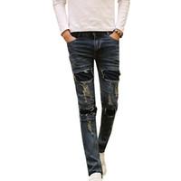 Wholesale wholesale designer jeans for men - Wholesale- New Men's Ripped Jeans Brand Designer Badge Patched Hip Hop Retro Vintage Washed Distressed Slim Fit Denim Pants For Men N-ZK015