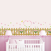 Wholesale Flower Fence Wall Stickers love Baseboard Kids Room Bedroom living room Skirting Home Decor Vinyl D Wallpaper girl room gift