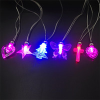 Wholesale Kids Led Flashing Necklaces - 12 piece lot Light flash crystal necklace pendant necklace light love Butterfly Necklace party party Xingyue fashion LED necklaces wholesale