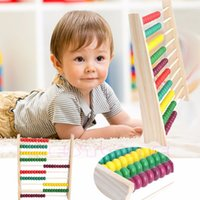 Wholesale Wood Beads Abacus Counting - Wholesale- 1Pc Wooden Abacus 10-row Colorful Beads Counting Kid Maths Learning educational toy