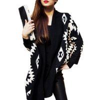 Wholesale Cardigan Big Size - Wholesale- Spring New Korean Big Size Shawl Sweater Coat Female Winter Irregular Geometric Patterns Bat Sleeve Women's Knit Cardigan