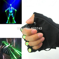Vente en gros - 1Pcs Red Green Laser Gloves Dancing Stage Show Light Avec 4 pcs lasers et LED light pour DJ Club / Party / Bars