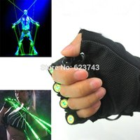 Wholesale Glove Dj - Wholesale- 1Pcs Red Green Laser Gloves Dancing Stage Show Light With 4 pcs lasers and LED palm light for DJ Club Party Bars