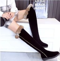 Nova chegada Hot Sale Specials Afluxo Sweet Girl Sexy Suede Black Winter Frostted Rabbit Hair Cartoon Side Zipper Stovepipe Knee Boots EU34-43
