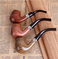 Wholesale Smoke Pipe Gift Set - Durable Classic Wooden Smooth Standard chimney Smoking Tobacco Pipe Bent Type black Gift Set free shipping