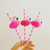 palhas rosa quente venda por atacado-Atacado-25PCS bonito dos desenhos animados rosa quente do favo de mel flamingos colorido papel de listra palha bebendo pássaro vara para decoração de festa de casamentos