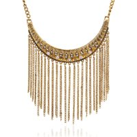 Gold Silver Color Metal Tassel Statement Necklace for Women Necklace Pendant Rhinestone Party Jewelry Accessory Wholesale
