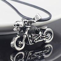cadena de titanio de la motocicleta al por mayor-Al por mayor-Hombre Gothic Punk Skeleton Motocicleta cadena de cuero de acero inoxidable titanium colgante collar X545
