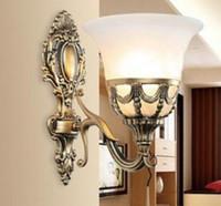 lámpara antigua de cristal al por mayor-iluminación de una sola pared dormitorio de la habitación lámparas de pared pantalla de vidrio apliques de pared iluminación del espejo bronce antiguo