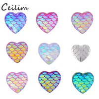 Bijoux Bracelet En Gros Mode Charme Pas Cher-Fashion Small 11.9mm Colorful Mermaid Scale Heart Charms pour Bracelet Collier DIY Making Jewelry Supplies Wholesale Résines Charm