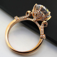 Wholesale Pure Stone Silver Ring - Genuine Pure Silver Big Stone 5CT Brilliant Diamond Wedding Ring Solid Sterling Silver 18K Rose Gold Cover Excellent Jewelry Gift For Mother